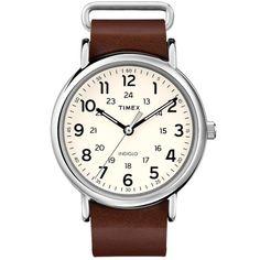 Timex Weekender 40 Slip Thru Watch (Brown Leather)