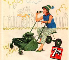 Vintage Thanksgiving Ads | Vintage 1962 7 UP Soda Pop Ad Woman on Riding Lawn Mower Blue Flower ...