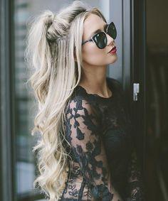 5 half ponytail for long blonde hair Square Face Hairstyles, Ponytail Hairstyles, Down Hairstyles, Straight Hairstyles, Hairstyle Ideas, Half Ponytail, Shoulder Length Hair, Hair Looks, Hair Lengths