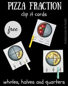 Use these quick and easy pizza fraction clip it cards to help kids understand the concepts behind how fractions work. What a fun fraction activity! Pizza Fractions, Teaching Fractions, Teaching Math, Dividing Fractions, Multiplying Fractions, Equivalent Fractions, Fraction Games, Fraction Activities, Math Activities