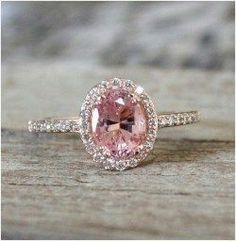 Pink Peach Sapphire Diamond Halo Ring in …: Cts. Pink Peach Sapphire Diamond Halo Ring in by Oval Halo Engagement Ring, Yellow Engagement Rings, Wedding Engagement, Pink Engagement Rings, Pretty Rings, Beautiful Rings, Beautiful Dream, Absolutely Gorgeous, Dream Big