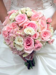 Wedding Bouquet:  Pink Roses, Pink Spray Roses, Pink Hydrangea, White Hydrangea and Whtie Spray Roses