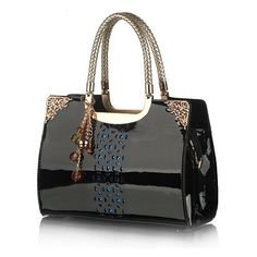 3 Colors Hollow Out Charming Fashionable Patent Leather Pvc Pu Shoulder Bags