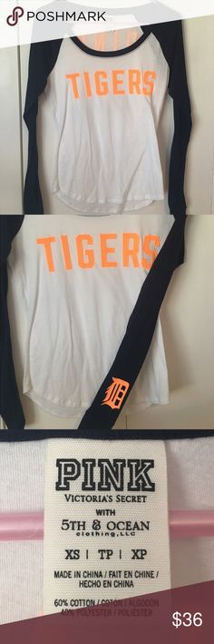 Detroit Tigers Victoria's Secret PINK baseball tee Baseball style long sleeve tee! Victoria's Secret PINK. Looks BRAND NEW only worn once, no signs of wear. Great for cooler summer night games and cold early season games! Size: XS, fits like an XS-Small. Clean and smoke free home. Victoria's Secret Tops Tees - Long Sleeve