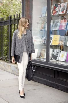 Need this once it comes out!  August - Look 11       Warren Jacket, Mira Cashmere Shell, Emily Pant, Jamie Tote, April Pump
