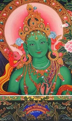 Tārā embodies many of the qualities of feminine principle. She is known as the Mother of Mercy and Compassion. She is the source, the fema… Tara Goddess, Goddess Art, Buddha Kunst, Buddha Art, Thangka Painting, Buddha Painting, Tibetan Art, Tibetan Buddhism, Green Tara Mantra