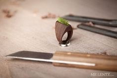 """Walnut, Grass, and Moss #Rings - This has got to be one of the most creative #jewelry pieces I have ever seen, and I simply need to have it! The creator, Mr. Lentz, creates and designs functional items and jewelry mostly out of reclaimed wood and upcycled materials from salvage yards. """"I have always been a creator...My aim has always been to find beauty and share it with others.""""  http://www.mrlentz.com/about/"""