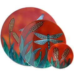 Dragonfly Plaques from Poole Pottery, England