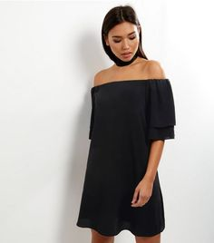 82882a5f3d4df Black Layered Sleeve Bardot Neck Dress
