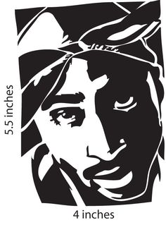 Tupac Black And White Stencil