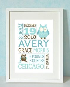 Girl's Owl Personalized Birth Announcement Print von RockMapleSugar, €15.00