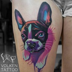 Watercolor French Bulldog Tattoo by Volken
