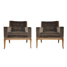 T.H. Robsjohn-Gibbings lounge chairs  USA  1950's  Pair of sabre leg lounge chairs by TH Robsjohn-Gibbings for Widdicomb. Newly upholstered in velvet. Fully restored.
