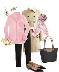 Pink gingham shirt, black pants or leggings, trench coat, floral scarf, black flats, black bag