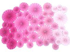 40 pc Pinwheels / Mix Size / CHOOSE COLORS / Rosettes / Medallions / Ombre / Wedding Event Decor / Nursery / Wall Decor