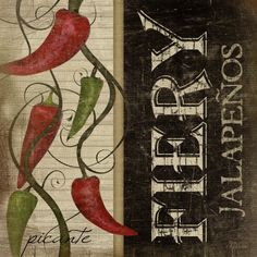 Fiery Jalapenos Poster Print by Jennifer Pugh Framed Artwork, Framed Art Prints, Poster Prints, Canvas Prints, Wall Decor Pictures, Retro, Canvas Fabric, Wrapped Canvas, Art Decor