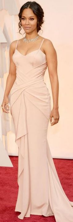 Zoe Saldana's pink gown, jewelry, and shoes that she wore to the 2015 Oscars in Hollywood red carpet fashion style  id