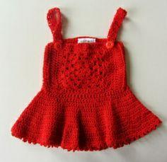 Rood gehaakt jurkje in maat 62-68   Jurkjes   Mevrouw Splinter