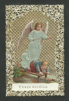 Holy Card Lace - Canivet The Angel Gaurdian Beautiful Card J • EUR 25,59 • PicClick IE