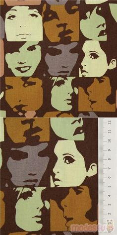 pop art portraits checker fabric with women and men's cinnamon brown, light green, cream and violet-grey faces on black cotton, Material: 100% cotton #Cotton #People #USAFabrics Art Marron, Portraits Pop Art, Pop Art Face, Alexander Henry, Kawaii, Retro Fabric, Black Fabric, Fabric Patterns, Gray