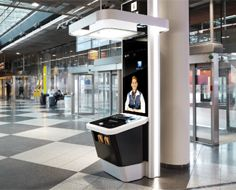 a new information booth at the airport that uses video-chat. With a press of a button, users are connected to a blue-coated assistant who appears on screen as if they were using Apple's FaceTime.
