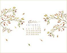 Craftberry Bush: October free desktop watercolor calendar