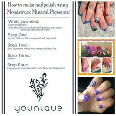 Make custom nail polish colors with Younique Eye Pigments and clear polish! #ilovemakeup #nailpolish #younique #exquisiteexpressions #bringingsexyback  Www.youniqueproducts.com/exquisiteexpressions