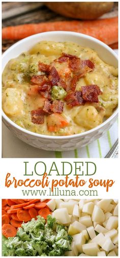 This thick and creamy soup is full of delicious vegetables including broccoli, potatoes, and carrots, plus lots of cheese and delicious seasonings. Loaded broccoli potato cheese soup is the ultimate cheesy broccoli soup recipe. #loadedbroccolipotatosoup #broccolipotatosoup #loadedpotatosoup #potatobroccolisoup #loadedbroccolicheeseandpotatosoup Broccoli Potato Cheese Soup, Broccoli Soup Recipes, Loaded Potato Soup, Broccoli And Potatoes, Creamy Cauliflower Soup, Carrots, Vegetables, Soup And Salad, Soups And Stews