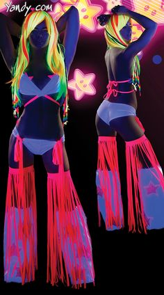 Glow Run Ideas: Flirty Fringe Ravewear Set, Fringe Dance Wear, Fringe Rave Outfit, Black Light Rave Bikini Rave Festival, Festival Wear, Festival Outfits, Festival Fashion, Edm Outfits, Steam Punk, Rave Costumes, Glow Costume, Rave Girls