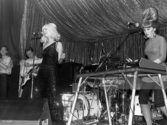 Fred Schneider, Ricky Wilson, Cindy Wilson & Kate Pierson of The B-52's in concert circa 1983 in New York City.