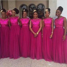 nigerian-sequin-bridesmaid-dresses-fuschia