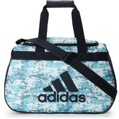 Adidas Digital Camouflage Diablo Small Duffle ($11) ❤ liked on Polyvore featuring bags, handbags, white, camouflage duffle bag, white handbags, camoflauge purse, camo purses and camouflage handbags
