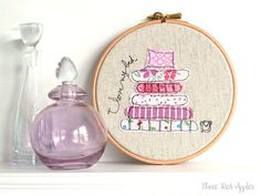 "Freehand Embroidery Hoop Art. 'I love my bed' Textile Artwork in pink - 6"" hoop  by ThreeRedApples (etsy shop)"