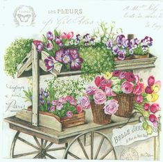 Classic print of a vintage Paris flower wagon. Napkins are printed in Germany on 3-ply paper. These are perfect for paper arts and crafts of many kinds,including collage and decoupage on glass, wood, candle, scrap booking , mixed media, and DIY projects. An excellent complement for the dining table and special events.  Each napkin is a standard luncheon size, measuring 6.5 x 6.5 (16.5 cm x 16.5 cm) folded, 13 x 13 (33 cm x 33 cm) when unfolded.  You will receive 4 napkins with this order…