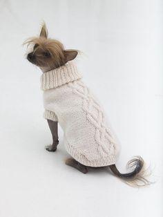 Cable knit dog sweater knitting pattern