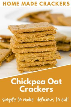 Chickpea and oat crackers, - Chickpea and oat crackers, healthy snacks made with simple ingredients. Crispy and crunchy and deli - Good Healthy Recipes, Healthy Snacks For Kids, Healthy Baking, Baby Food Recipes, Vegan Recipes, Snack Recipes, Cooking Recipes, Healthy Crunchy Snacks, Snacks Kids