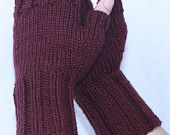 Wool Mittens, Purple Passion, Fingerless Mittens with Thumb, Hand-knit by Janie, Women's Small-Medium. $34.00, via Etsy.