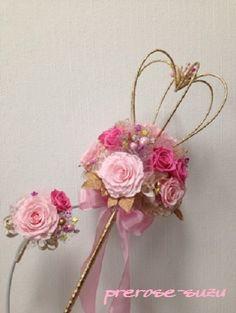 ステッキブーケ ピンク - プリザーブドフラワーのウエディングブーケ prerose-suzu
