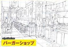 Boceto de una tienda de hamburguesas en Konoha, donde Boruto y sus amigos pasan el tiempo...