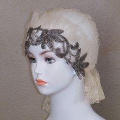 1920s Cloche Head Piece, 20s Beaded Flapper Wedding Cloche Antique Silk Net Floral Lace & Beaded Flowers Wedding Veil, Art Deco Rare. $ 300.00, via Etsy.