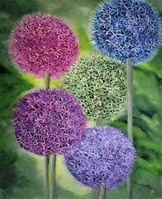 Ölmalerei - Allium Zierlauch Ölgemälde - ein Designerstück von Garty66 bei DaWanda
