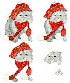 Christmas Kitty 3D Sheet photo: Christmas cat 3d This photo was uploaded by spyrocatgirl