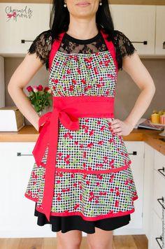 Купить Cherry Basket - комбинированный, фартук, фартук для кухни, фартук в подарок, женственный стиль, для нее Long Ties, Cotton Fabric, Cherry, Basket, Kitchen Stuff, Aprons, Pretty, Color, Beautiful