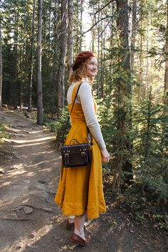 Marigold dress for autumn. Pinafore Dress Outfit, Marigold Dress, Librarian Chic, Casual Dressing, Vintage Inspired, Fall Outfits, Sons, Autumn