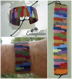 One more 'color palette'... this time as a man's macrame bracelet! Video tutorial here: https://www.youtube.com/watch?v=kh6nlZdb8Cg