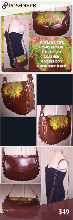 "VTG Boho Floral Leather Crossbody Shoulder Bag! Vintage 70's Boho Floral Embossed Leather Crossbody Shoulder Bag! Features a gorgeous colorful Floral design, genuine lighter weight leather, front brass latch closure & long adjustable strap. Measures 10"" across x 7 1/3"" high x 3"" wide with 23"" body / shoulder clearance. Minor exterior scratches. Excellent condition! Offers welcomed! Vintage Bags"