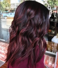 Burgundy Balayage, Balayage Hair, Ombre Hair, Black Hair With Highlights, Hair Highlights, Purple Highlights, Peekaboo Highlights, Highlights Underneath, Caramel Highlights