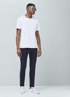 Essential cotton-blend t-shirt - Man Mango Sale, Cotton Fabric, Essentials, Normcore, Casual, Mens Tops, T Shirt, Clothes, Fashion