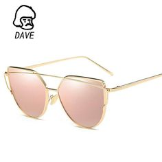 ebdd23664b2 2017 Brand Retro Cat Eye Sunglasses Women Vintage Fashion Rose Gold Mirror  Eye Glasses Unique Flat Ladies Eyewear Oculos UV400