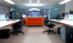 Clear windows with bright orange accent couch in work spaces. Interior Concept, Work Spaces, Office Interiors, Business Planning, Conference Room, Couch, Windows, Bright, How To Plan